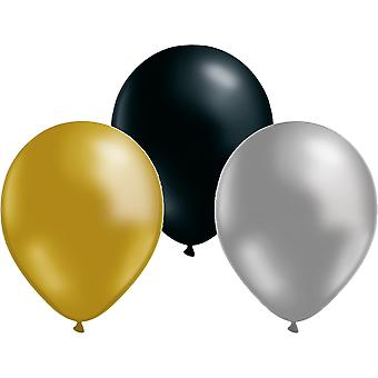Ballonger 24-pack Guld/silver/svart