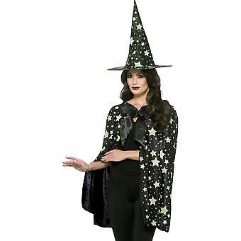 Kit de bruja medianoche, negro y brillan en la oscuridad, con capa y sombrero