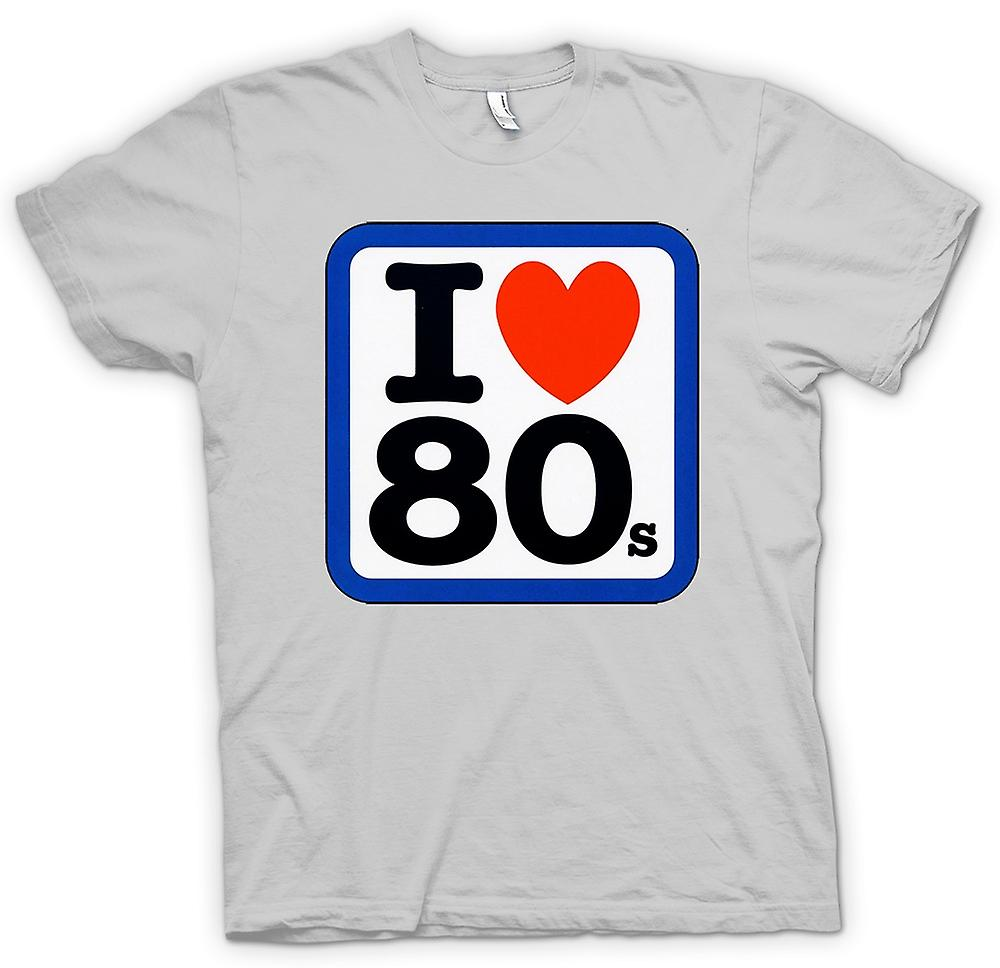 Mens T-shirt - I Love Heart The 80s - Funny