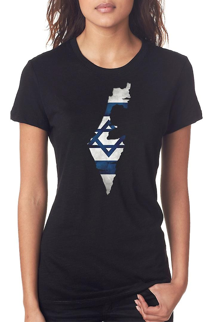 Isreali Isreal Flag Map Ladies T Shirt