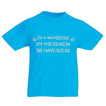 I'm In The Middle I'm The Reason We Have Rules Azure Blue Kids Tshirt
