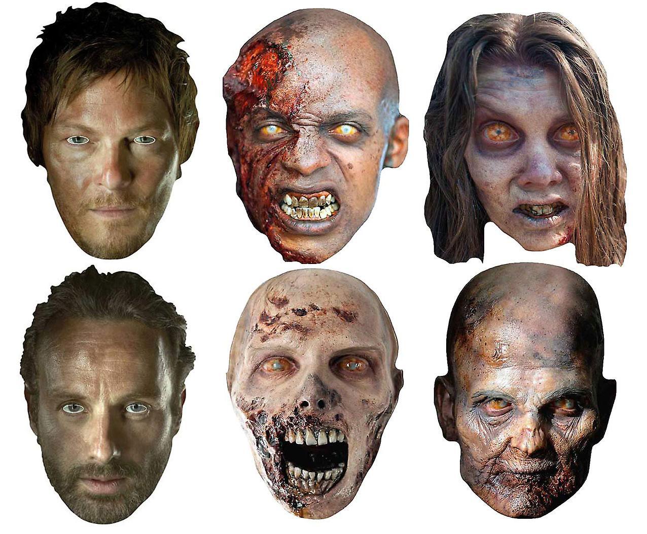 Walking død Party kort ansikt masker utvalg settet av 6