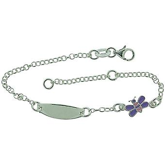 TOC Girls Sterling Silver Purple Butterfly Charm ID Bracelet 6+1
