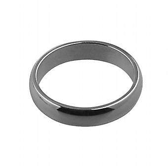 9ct White Gold plain D shaped Wedding Ring 4mm wide in Size I