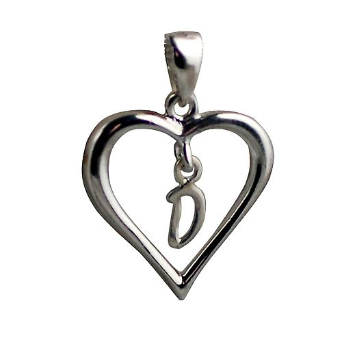 Silver heart Pendant with a hanging Initial D