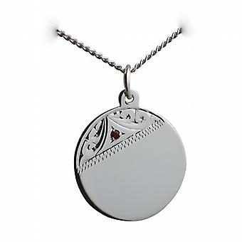 Silver 20mm hand engraved set with garnet round Disc with a curb Chain 18 inches