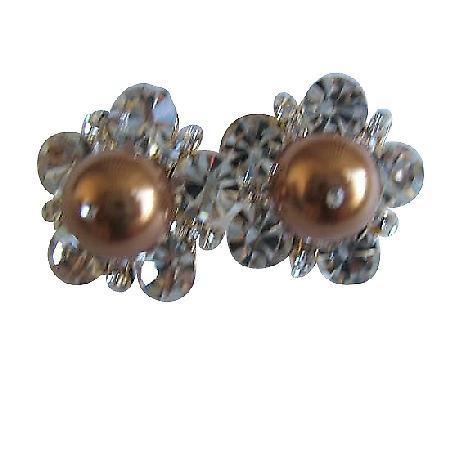 Swarovski Copper Pearls Stud Earrings Dressed w/ Cubic Zircon Earrings