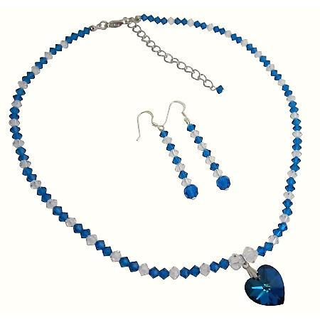 Swarovski Blue & AB Crystals w/ Pendant Necklace Set