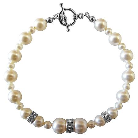 Handcrafted Bracelet Swarovski Ivory Pearls w/ Silver Rondells Jewelry