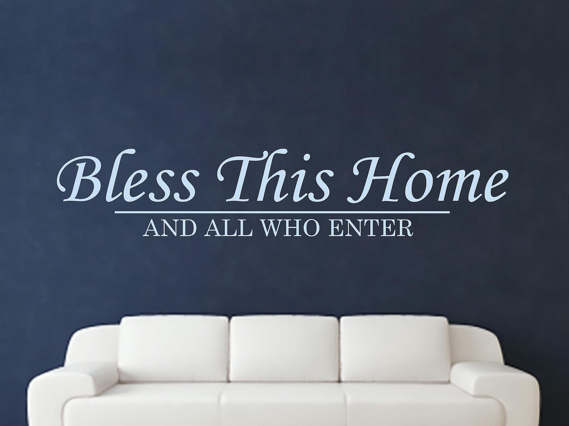 Bless This Home Wall Art Sticker - Pastel Blue