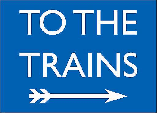 Copy of To The Trains (blue, to right) enamelled steel wall sign    (dp)