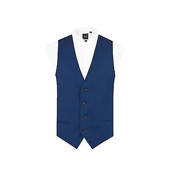 Dobell Mens Bright Blue Waistcoat Slim Fit