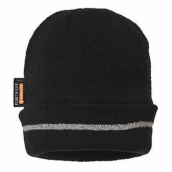 sUw - Reflective Trim Knit Hat Insulatex Lined Black Regular