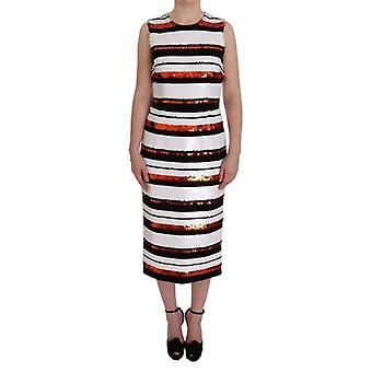 Dolce & Gabbana Multicolored Striped Sequined Stretch Dress -- SIG5704752