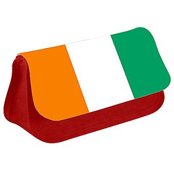 Cote dIvoire Flag Printed Design Pencil Case for Stationary/Cosmetic - 0042 (Red) by i-Tronixs