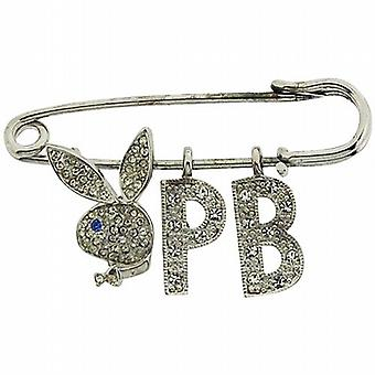 Rhinestone claro de Playboy imperdible Set conejito & iniciales el regalo Ideal para él