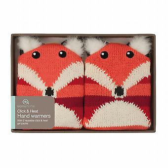 Click & Heat Knitted Cover Gel Hand Warmers: Fox (Pair)