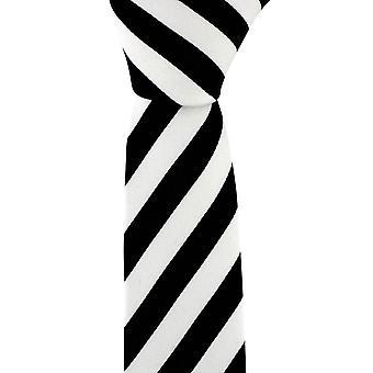 David Van Hagen Skinny gestreepte stropdas - zwart/wit