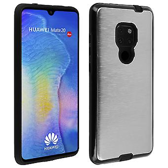 Huawei Mate 20 Protective Soft Silicone Case Aluminum Reinforced edges, Silver