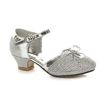 Ajvani girls low heel glitter diamante bow buckle party shoes