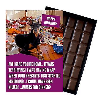 Doberman rolig födelsedag gåvor för hundälskare boxed choklad gratulationskort present