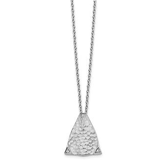 925 Sterling Silver Polished Gift Boxed Spring Ring Rhodium-plated White Ice Textured Triangle Diamond Pendant - 18 Inch