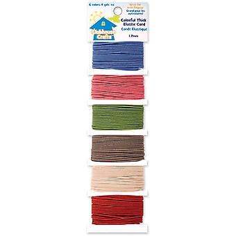 Clubhouse Crafts Elastic Cord Colorful Thick 6 Colors 4 Yards Each 8900Ec 1 12