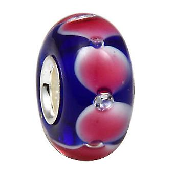 Sterling silver murano glass charm with rhinestones inside NG013