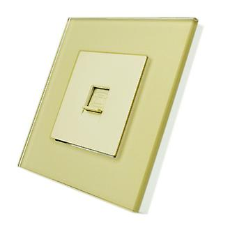 I LumoS Luxury Gold Crystal Glass Frame BT RJ11 Telephone Wall Single Socket