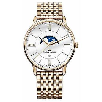 Maurice Lacroix Mens Eliros Gold Plated Watch Moonphase EL1108-PVP06-112-1