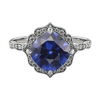 2.25 ctw blu zaffiro anello con diamanti 14k oro bianco fiore foglie Halo