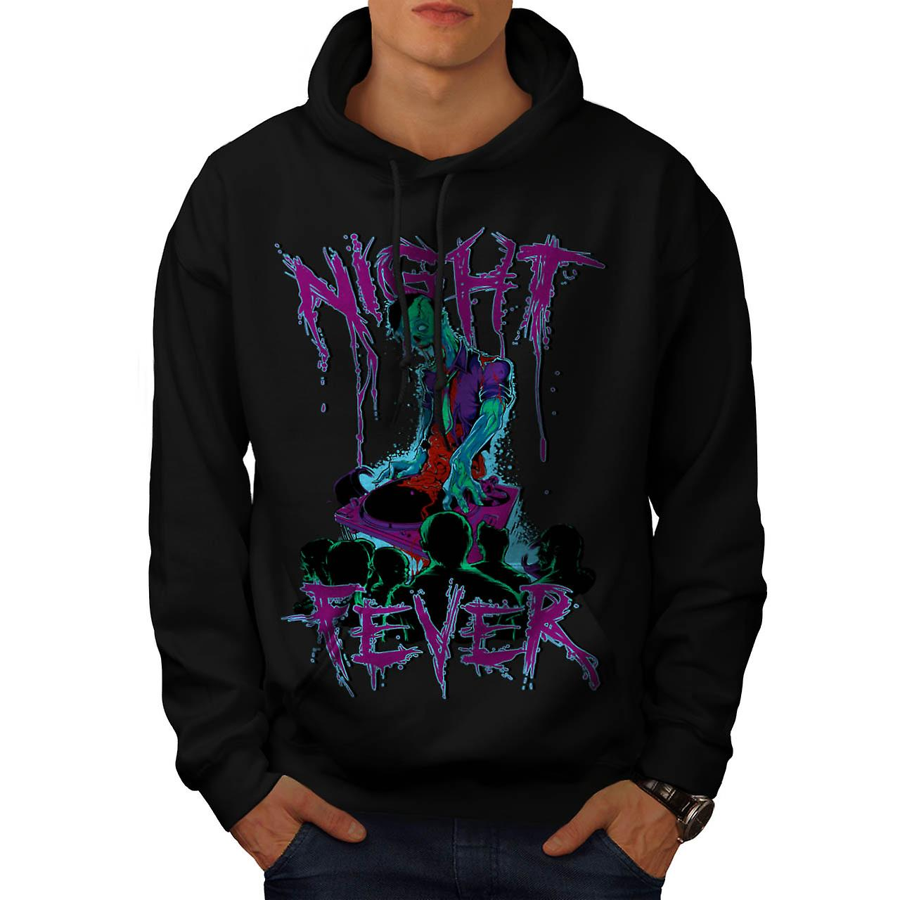 DJ Zombie Night Fever Undead Rip Men Black Hoodie | Wellcoda
