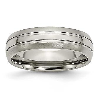 Titanium Engravable Grooved 6mm Brushed Polished Band Ring - Ring Size: 5 to 13