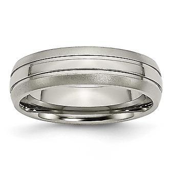 彫刻用溝 6 mm ブラシ研磨チタン バンド リング - 指輪のサイズ: 5 に 13