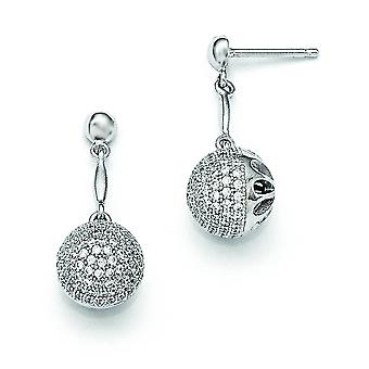 Sterling Silver and Cubic Zirconia Fancy Post Earrings