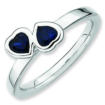 Sterling Silver Stackable Expressions Cr. Sapphire Double Heart Ring - Ring Size: 5 to 9
