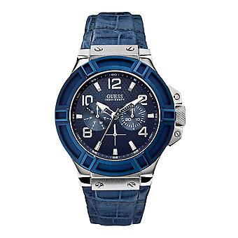 Guess men's wristwatch watch stainless steel analog W0040G7 leather