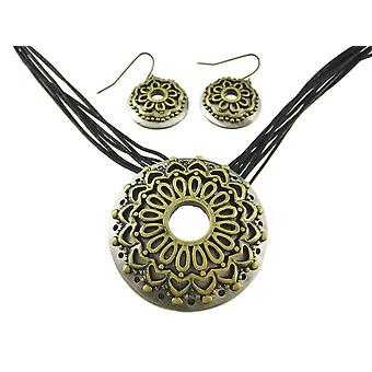 Zwei Ton Blume mehrsträngigen Halskette und Ohrringe Set