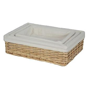 Lined Rectangular Straight-Sided Wicker Tray Set of 3