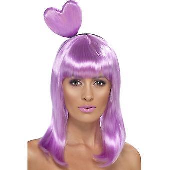 女王紫心女王かつら女性をウィッグのハートキャンディー