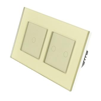 I LumoS Gold Glass Double Frame 3 Gang 1 Way WIFI/4G Remote & Dimmer Touch LED Light Switch Gold Insert