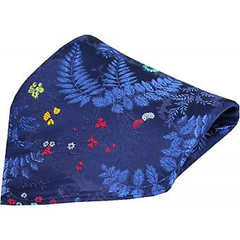 Posh and Dandy Floral Leaf Pattern Silk Pocket Square - Navy