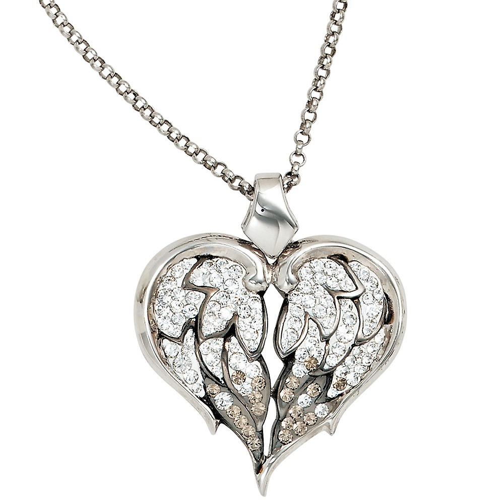 Necklace chain with charms, wings heart 925 sterling silver with crystals 50 cm long