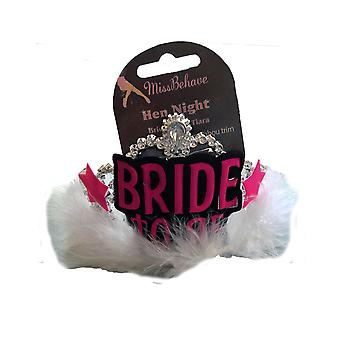 Hen Party 'Bride To Be' White Fur Trim Tiara With Veil