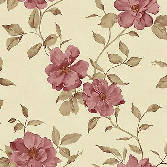 Red Floral Wallpaper Ideco Chloe Grandeco White Flower Pattern Metallic