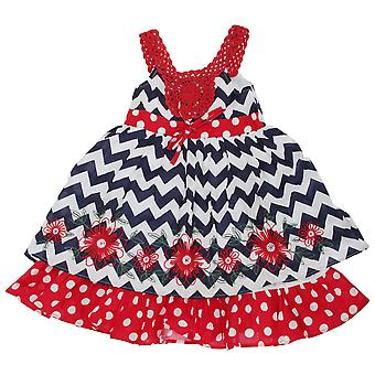 Childrens Girls Floral Chevron Pattern Summer Dress