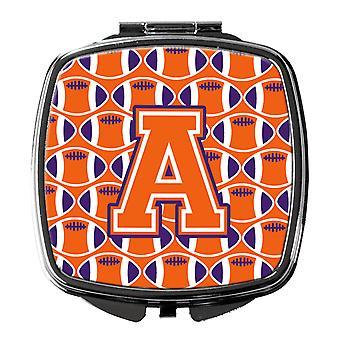 Letter A Football Orange, White and Regalia Compact Mirror