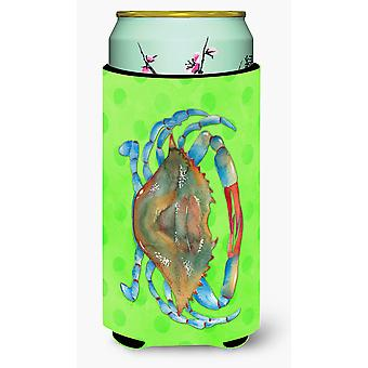 Blue Crab Green Polkadot Tall Boy Beverage Insulator Hugger