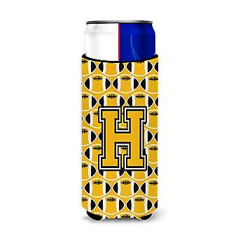 Letter H Football Black, Old Gold and White Ultra Beverage Insulators for slim c