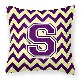 Letter S Chevron Purple and Gold Fabric Decorative Pillow